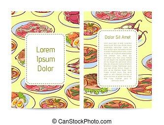 Thai cuisine restaurant menu cover with delicious asian...