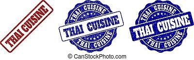 THAI CUISINE Scratched Stamp Seals - THAI CUISINE grunge...