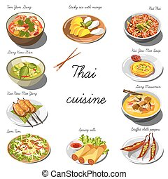 Thai cuisine set. Collection of food dishes for the...