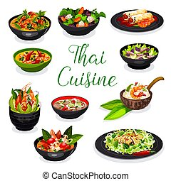 Thai cuisine soup, salad and spring roll dishes