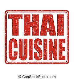 Thai cuisine stamp - Thai cuisine grunge rubber stamp on...