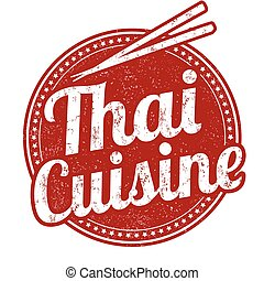 Thai cuisine stamp - Thai cuisine grunge rubber stamp on ...
