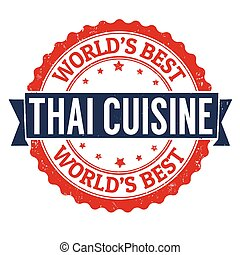Thai cuisine stamp - Thai cuisine grunge rubber stamp on...