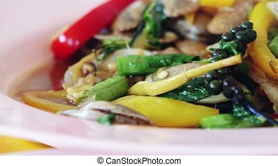Thai cuisine stir-fried clams with curry or stir fried clams...