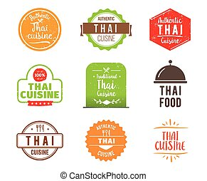 Thai cuisine vector label - Thai cuisine, authentic...