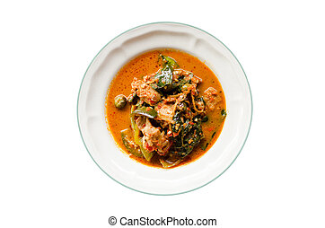 Thai curry food on dish isolated