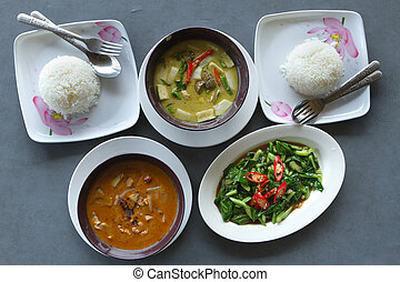 thai curry food with rice