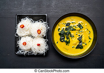Thai curry soup with crab and coconut milk