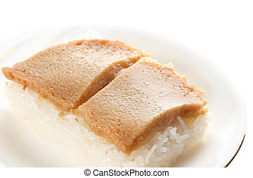 Thai custard with sticky rice on white