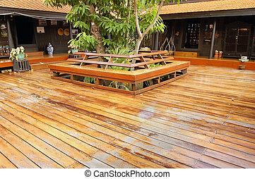 Thai deck - Central wooden veranda in a traditional Thai ...