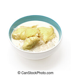 thai dessert, durian sticky rice with coconut milk sauce