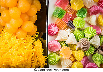 thai dessert, thai sweets, picture vintage Style
