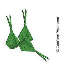 Thai Dessert Wrap with Banana Leaves on White Background