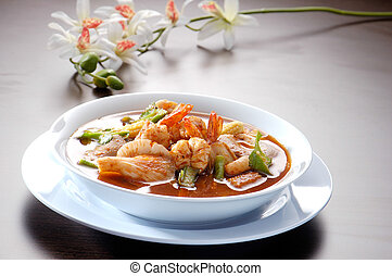 Thai Dishes - Tom Yam Kung asia food - Thai Dishes - Tom Yam...