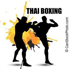 thai ember, bokszoló, álló, képben látható, grunge, mód