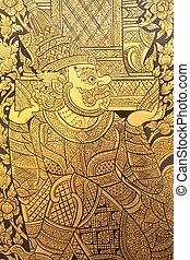 thai ember, festmény, mód, art.