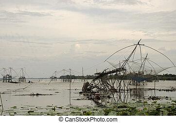 thai emberek, lovaglás, hosszú frakk, csónakázik, és, noha,...