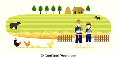 Thai Farmer with Rice and Paddy Field Background