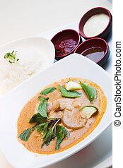 thai, firmanavnet, rød, karry, kylling