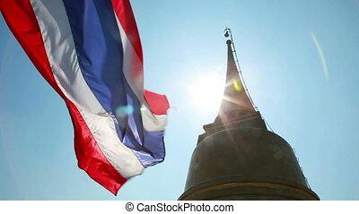 Thai flag at golden mountain temple Bangkok