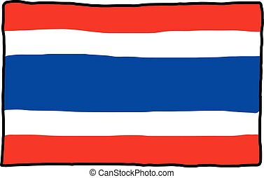 Thai flag - illustration vector doodle hand drawn, isolated on white background