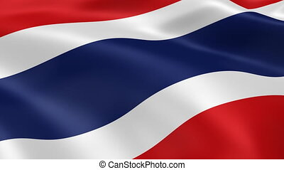 Thai flag in the wind. Part of a series.