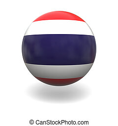 Thai flag - National flag of Thailand on sphere isolated on...