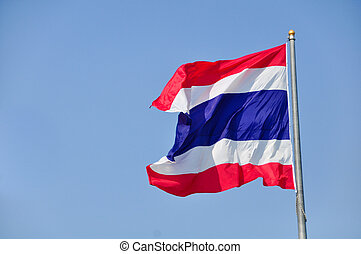 Thai flag of Thailand with blue sky background