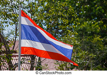 Thai flag of Thailand with tree background.