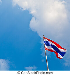 Thai flag on blue sky background