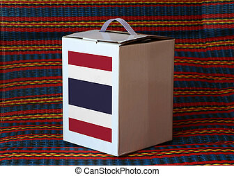 Thai flag on white box with stripe background, Paper packaging for put products. The concept of Thailand export trading.