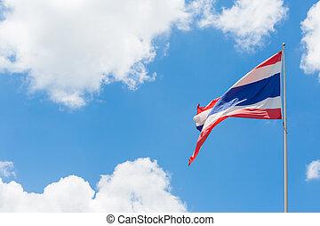 Thai flag waving on blue sky