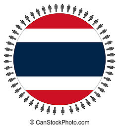 Thai flag with people