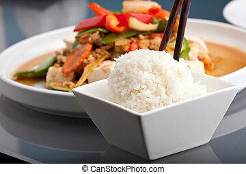 Thai Food and Jasmine Rice - Fresh Thai food stir fry with...