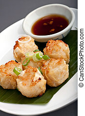 Thai Food Appetizer - Fried thai appetizers with soy dipping...