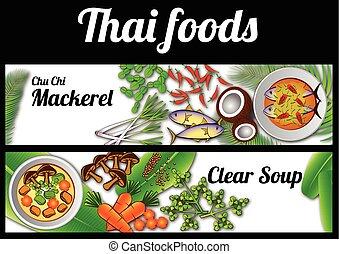 Thai Food banner massaman and Phad thai - two Thai delicious...