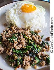 Basil fried rice with pork