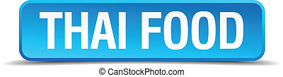 Thai food blue 3d realistic square isolated button
