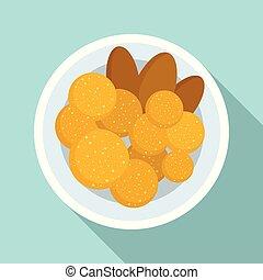 Thai food cutlet icon, flat style