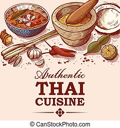 Thai food drawing