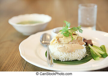 Thai food gourmet steamed chicken with rice