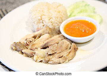 Thai food gourmet steamed chicken with rice , khao mun kai in wo