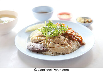 Thai food gourmet steamed chicken with rice , khao mun kai