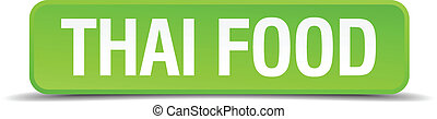 Thai food green 3d realistic square isolated button