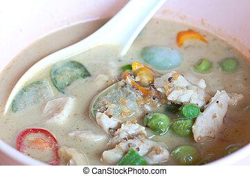 Thai Food green Curry fish