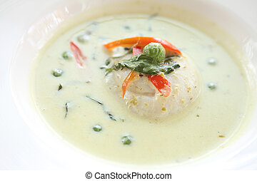 Thai food green fish curry with rice