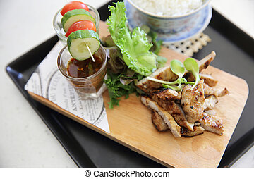 Thai food , Grilled pork with spicy sauce