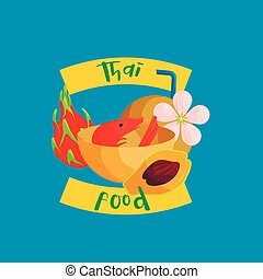 Thai food icon in flat style
