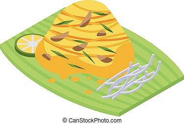Thai food icon, isometric style