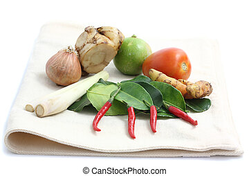Thai food ingredient for Tom yum kung isolated in white backgrou